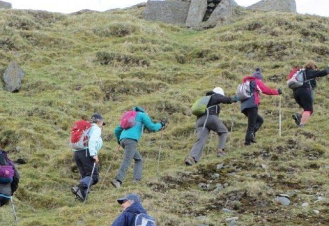Nordic walking on slopes